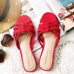 Red Vintage Knot Style Slid On Flats